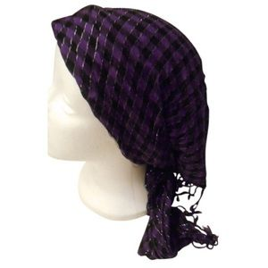 """Accessories - Large fringed summer purple black scarf 50"""" x 23"""""""